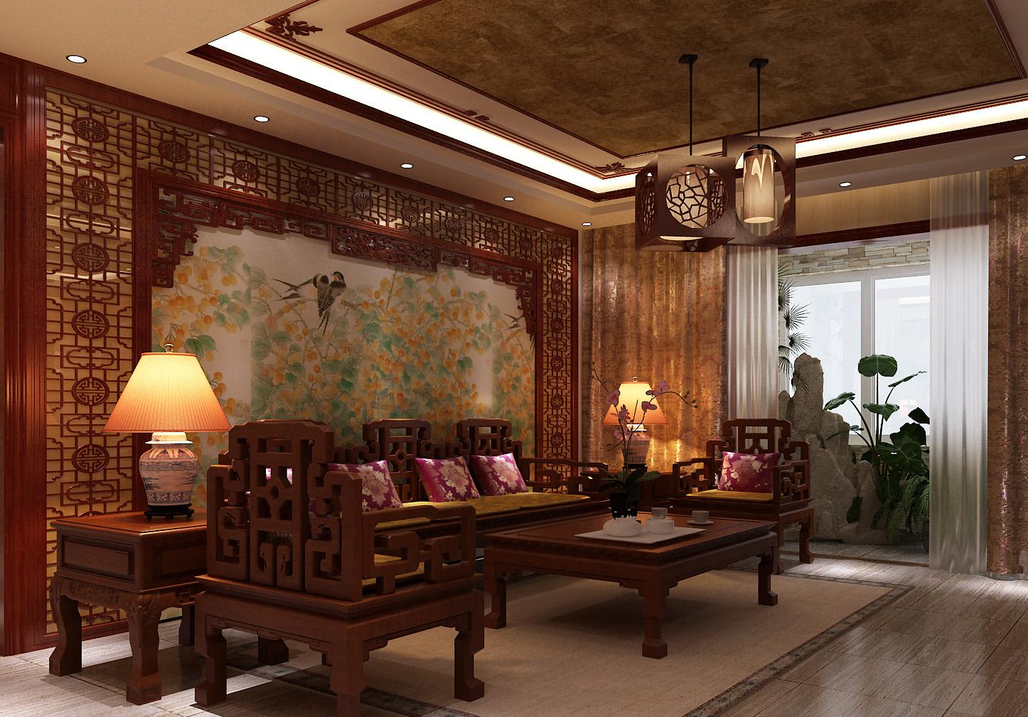中式家庭客厅设计图片欣赏